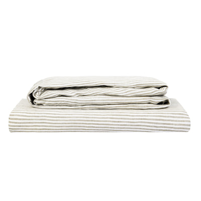 100% Linen Sheet Set - Olive Stripe - TOW AND LINE
