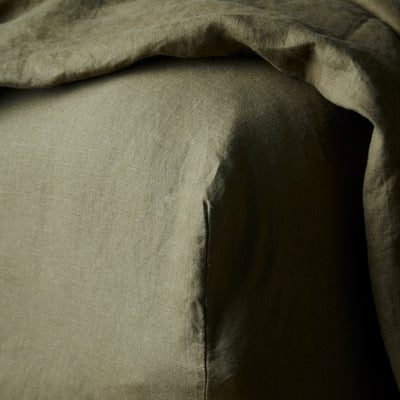 100% Linen Sheet Set - Olive - TOW AND LINE