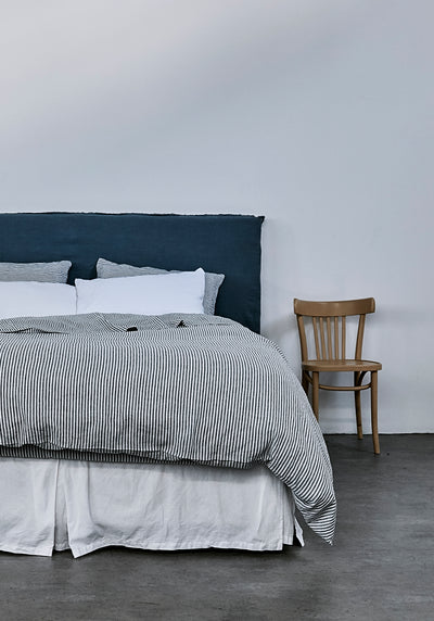 100% Linen Duvet Cover - Blue Stripe - TOW AND LINE