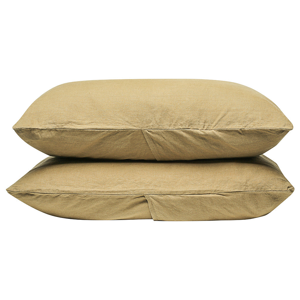 100% Linen Pillowcase set - Olive