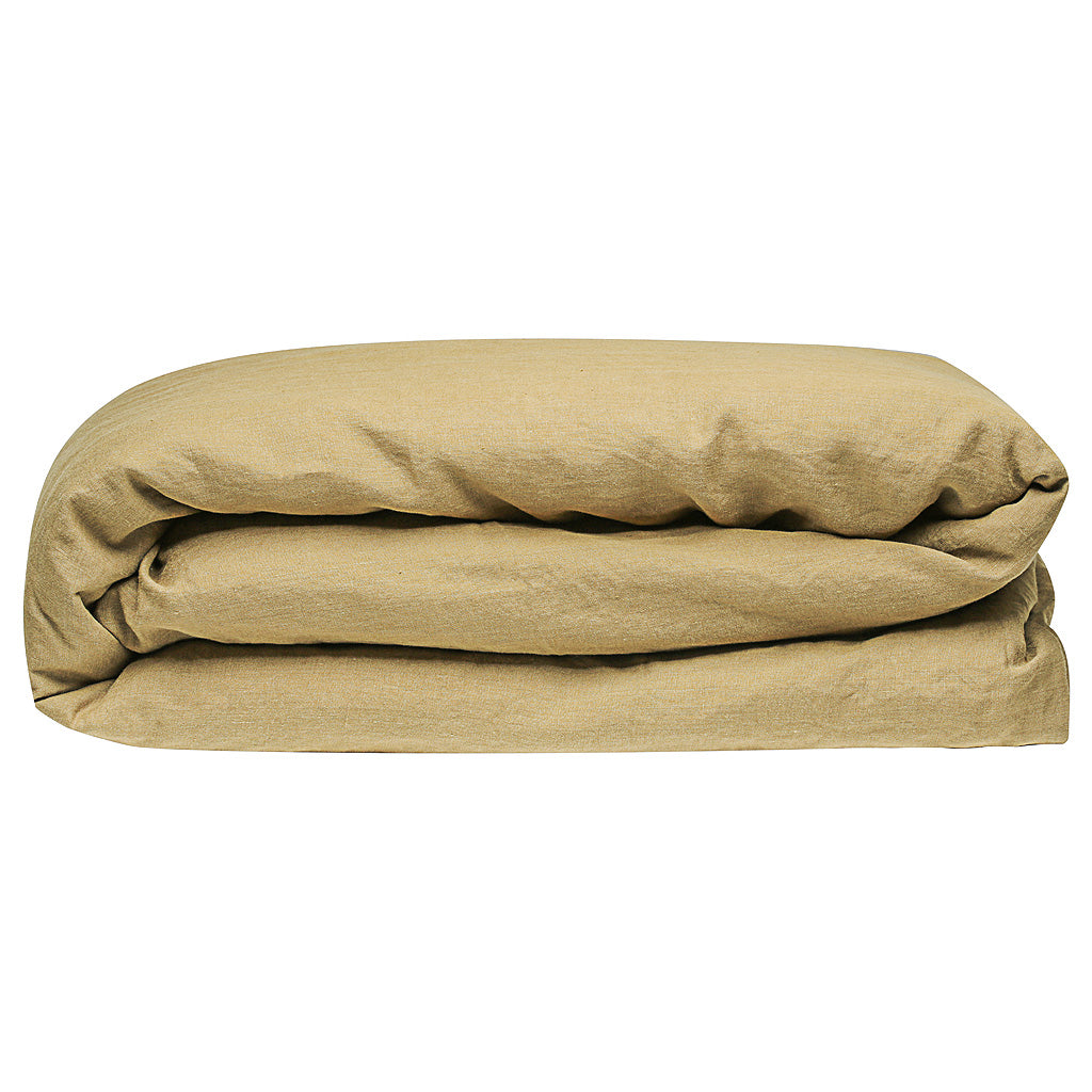 100% Linen Duvet Cover - Olive - TOW AND LINE