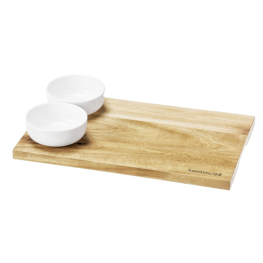 Acacia Wood Sushi Board, 2 Cups
