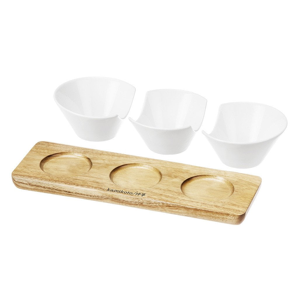 3 Cup Serving Set, Acacia Wood Base