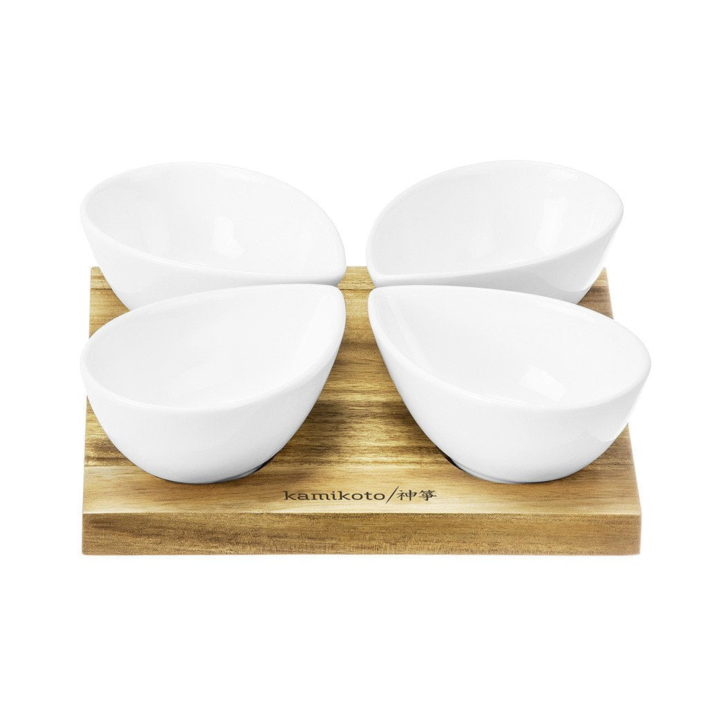 Kamikoto 4 Leaf Bowl Serving Set, Acacia Wood Base
