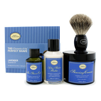 The 4 Elements Of The Perfect Shave - Lavender (Pre Shave Oil + Shave Crm + A/S Balm + Brush)