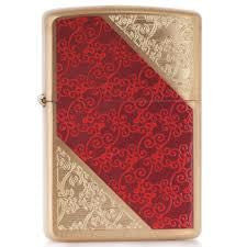 Damask Luxury 3 Brushed Brass Lighter