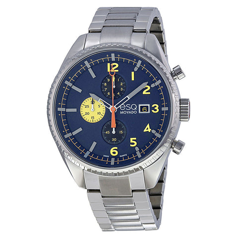 ESQ Movado® Catalyst Chronograph Blue Dial Stainless Steel Bracelet Men's Watch