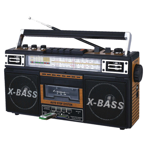 QFX Radio and Cassette to MP3 Converter, and Recorder with USB/SD/MP3 Player-Wood