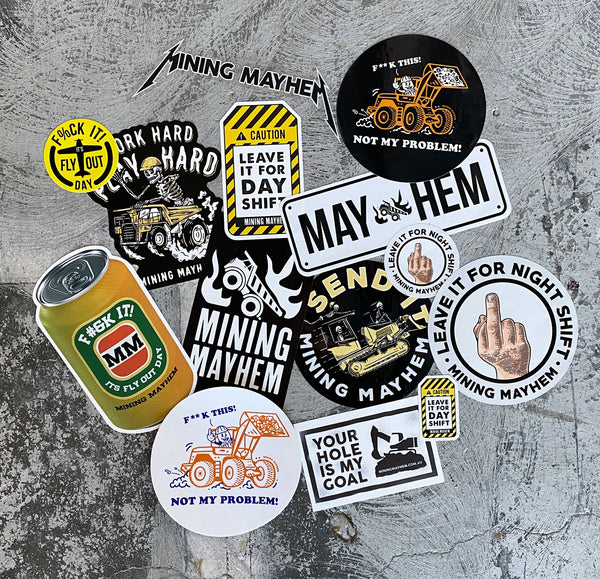 Assorted Mining Mayhem Stickers - 14 Pack
