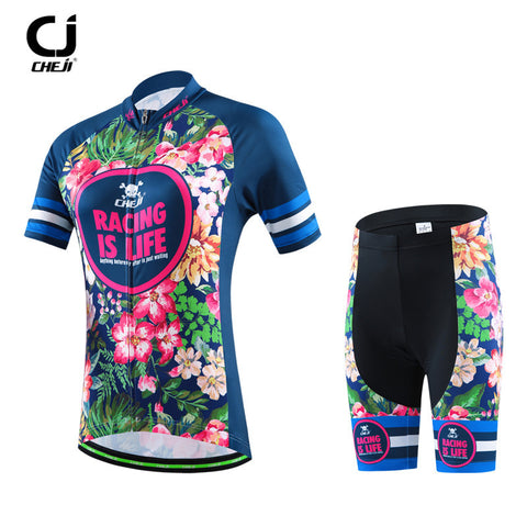 CHEJI Mountain Cycling Jersey Short Sleeve Riding Running Sportswear Cycling Clothing Ropa Ciclismo Road Bicycel Cycling Jerseys