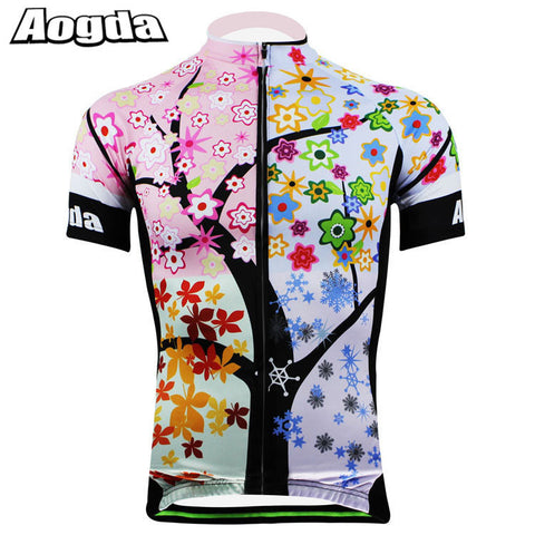 AOGDA Tree Raod Bicycle Short Sleeve Shirt Mtb Sports Bicicleta Clothing Ciclismo Maillot Mountain Bike Cycling Jersey for Women