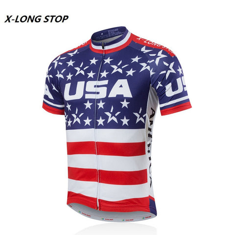 Men's USA Style Cycling Bike Jersey Shirt Short Sleeve