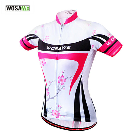 WOSAWE Summer Sports Women Short Sleeve Cycling Jerseys Bike Bicycle Jersey Quick-dry Outdoor Sports Shirt, Pink