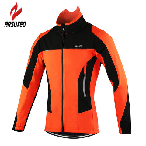 ARSUXEO Fleece Thermal Cycling Jackets Autumn Winter Warm Up Bicycle Clothing Windproof Waterproof Wind Coat MTB Bike Jerseys