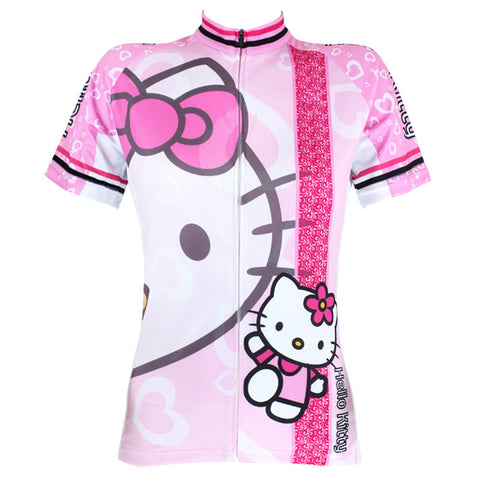 2017 New Cartoon Pink Hello Kitty Cycling Jersey Women Summer Short Sleeve Cycling Shirt Bike Wear Cool Panther Cycle Clothing