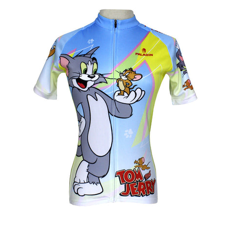 Women Cycling Jersey  Tom And Jerry Cycling Clothing Women Bike  Cartoon Short Sleeve Cycling Jersey QX099