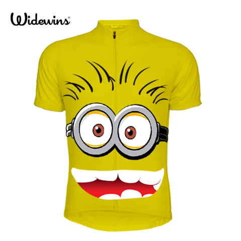 Cartoon people Boy's Summer Cycling Jersey Mountain girls Bike Bicycle Sportswear Ciclismo short Sleeve Child Wear yellow 5554