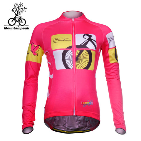 Mountainpeak Autumn Cycling Jerseys for Women Long Sleeve Road MTB Mountain Bike Riding Jacket Quick Dry Breathable 2017