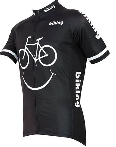 2016 new Hot sale cartoon cycling jersey smile face cycling clothing funny Mouth biking shirt sportswear black tops gear
