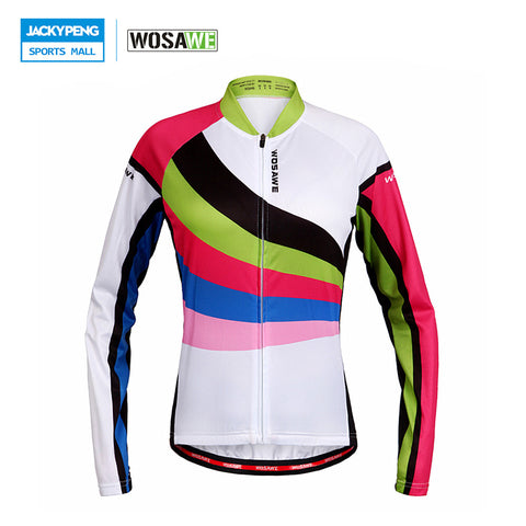 WOSAWE Women Cycling Jersey Long Sleeved T-shirt Tops Sportswear Breathable Spring & Autumn MTB Road Bike Wear Jacket Clothing