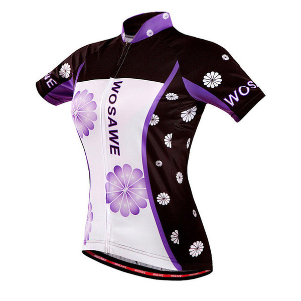 WOSAWE Women Purple Short Sleeve Cycling Jersey Road Biker Racing Pro Team Bike Bicycle Top Wear Clothes Clothing