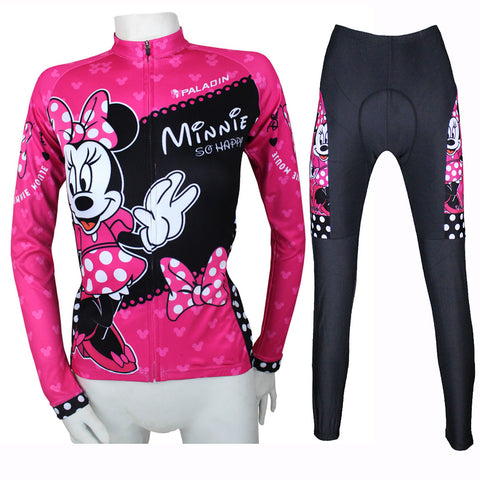 Anime Minnie  Long Sleeve Cycling Jersey Women Cartoon Cycling Equipment Cycling Sets X096