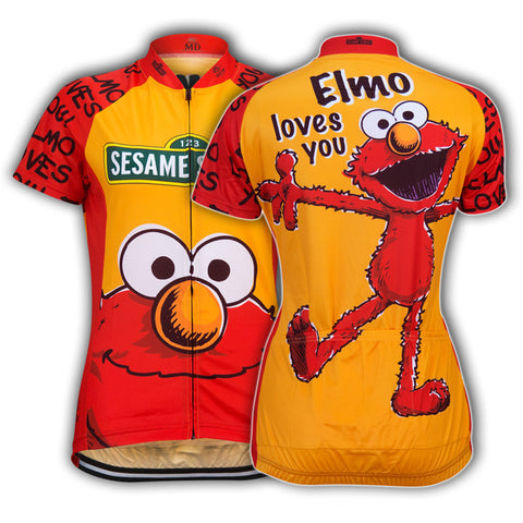 Hot 2017 Woman Cartoon Red yellow Jersey cycling jersey short sleeve summer Breathable Bike Road Bike brand Racing Clothing