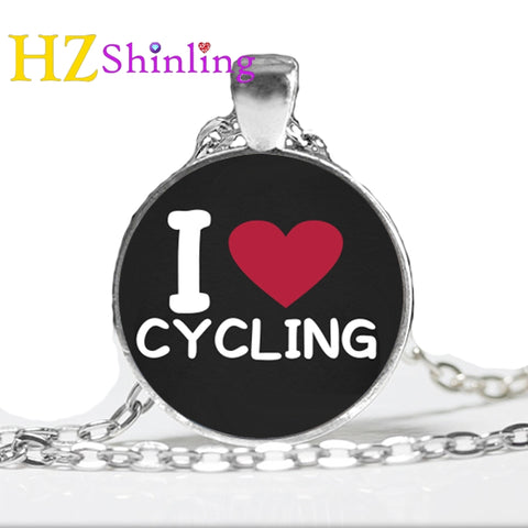 I Love Cycling Necklace I Love My Bike Pendant Necklace Handmade Glass