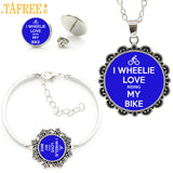 trendy blue art picture love cycling jewlery sets  women casual sports bicycle bike necklace earrings bracelet