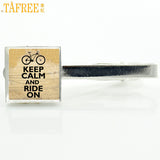 TAFREE vintage Keep Calm and Ride On tie clips pins men women casual sports bicycle bike cycling necktie bar clamp jewelry NW436