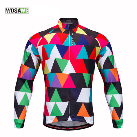 WOSAWE 2017 New Cycling Jersey Men Long Sleeve 100%Polyester Outdoor Bike Clothing Ropa Ciclismo Bike Jerseys Cycling Clothing
