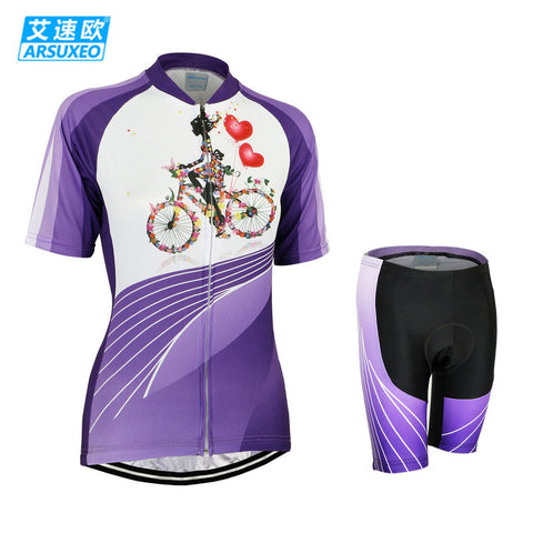 ARSUXEO Women Bicycle Bike Cycling Clothing Set Breathable MTB Road Bike Short Sleeves Jersey + 3D Coolmax Padded Shorts Suit