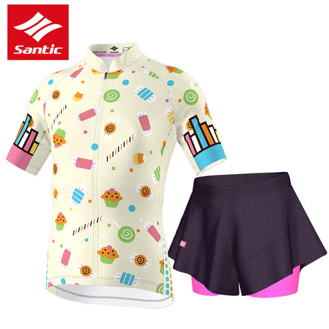 Santic Pro Cycling Jersey Set Girls Summer MTB Road Bike Bicycle Jersey Breathable Sponge Padded Children Cycling Clothing 2017