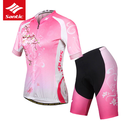 Santic Women Cycling Jersey Set Summer Short Sleeve MTB Road Bike Jersey Breathable Quality Bicycle Jersey Set Cycling Clothing