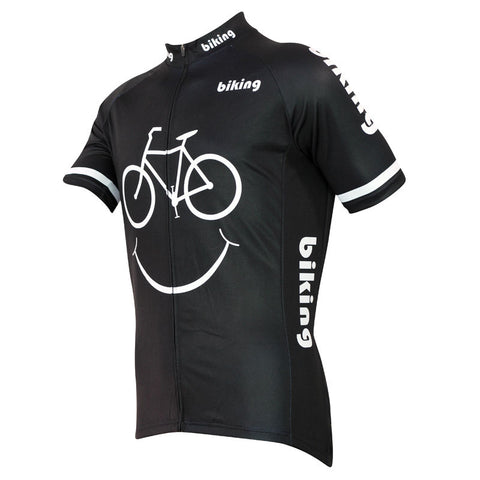2018 hot Sport Bike Jersey Tops Cycling Wear Smile Face Pattern Men Black Dri fit make your own Sleeve Cycling Jersey Full Zippe