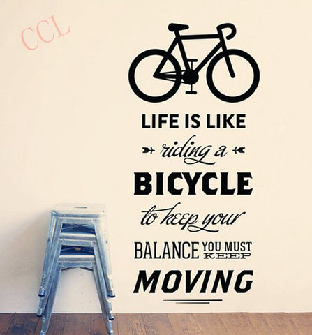 Life Is Like Riding A Bicycle Quote Bike Wall Sticker DIY Cycling Words Vinyl Bike Wall Art Decal Sticker Mural Home Decoration
