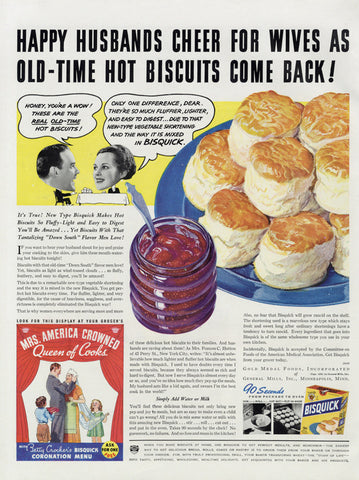 1936 Bisquick Biscuits Ad Funny Vintage Food Advertisement Art Print Retro Kitchen / Restaurant / Bakery / Cafe Wall Art