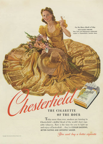 1940 Chesterfield Cigarettes Ad Lady Smoking Art Illustration Print Vintage Tobacco Advertisement Bar Wall Art Living Room Decor