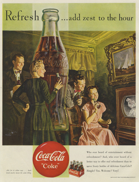 1950 Coca-Cola Vintage Advertisement Art Print Coke Bottle Friends Illustration Mid Century Soda Pop Ad Wall Decor