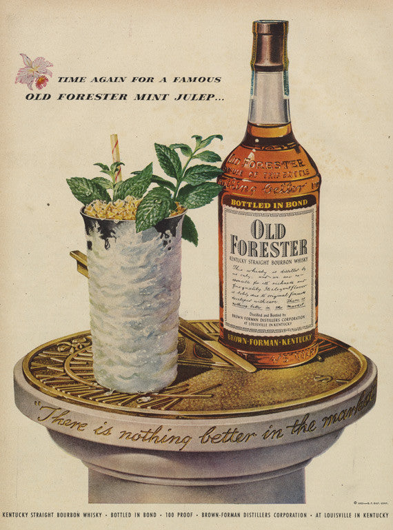 1953 Old Forester Bourbon Whisky Ad Mint Julep Illustration Art Vintage Liquor Advertisement Print Retro Bar Wall Art Mid Century Whiskey Advertising Hostess Gift Idea