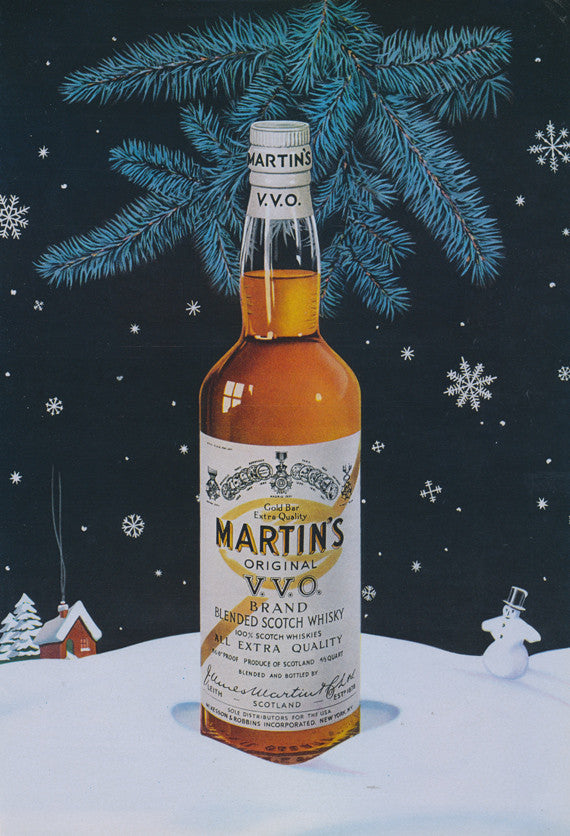 1957 Martin's V.V.O. Scotch Whisky Advertisement Christmas Holiday Art Illustration Print Retro Bar Mid Century Wall Decor