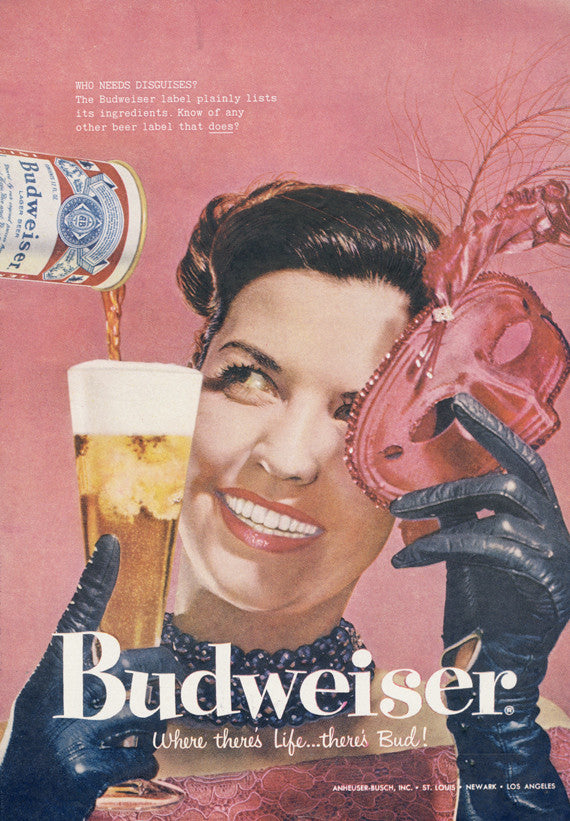 1958 Budweiser Beer Ad Mardi Gras Mask Costume Party Woman Photo Rare Vintage Advertisement Print Bar Tavern Restaurant Dining Wall Art