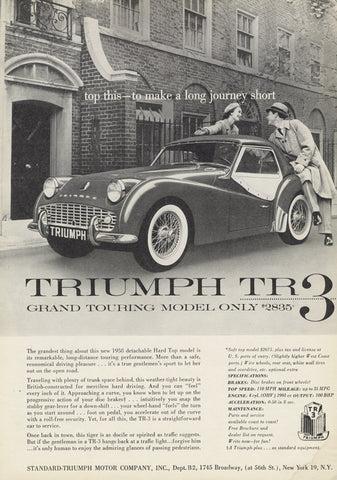 1958 Triumph TR3 Grand Touring Sports Car Ad Vintage British Automobile Advertisement Print Garage / Man Cave Wall Art Gift for Him