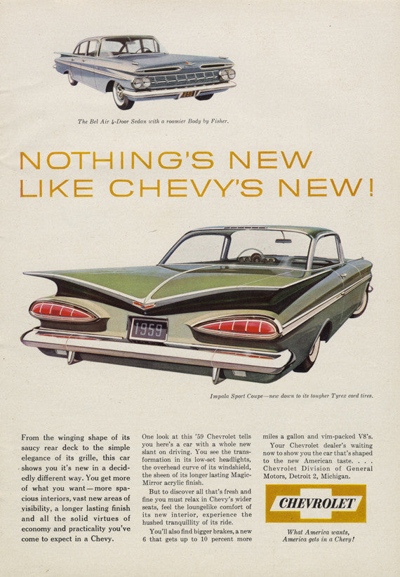 1959 Chevrolet Impala Sport Coupe & Chevy Bel Air 4-Door Sedan Vintage Automobile Ad 1950s Classic Car Advertisement Print Man Cave Wall Art