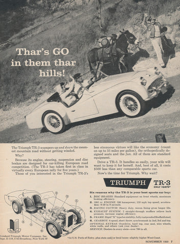1959 Triumph TR-3 Convertible Car Vintage Advertisement Print Ad Garage Wall Art Automotive Decor Gift for Him