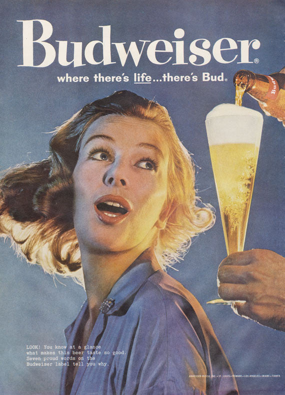 1960 Budweiser Beer Ad Mad Men Era Vintage Advertisement Print Retro Woman Photo Bar Pub Wall Art Decor