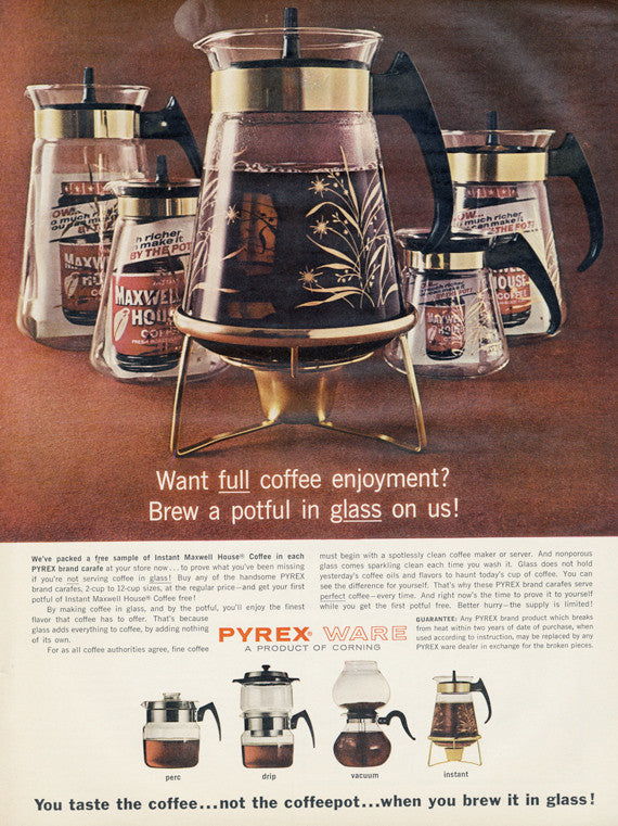 1960s Pyrex Ware Vintage Ad Coffee Carafe Coffeepot Vintage Glass Housewares & Maxwell House Advertisement Wall Art Print
