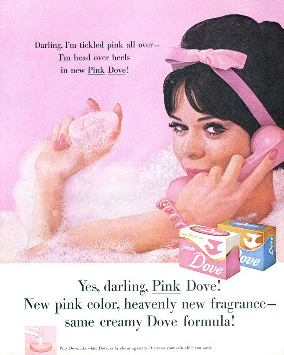 1960s Dove Pink Soap Ad Retro Bathing Beauty Mod Woman Gillian Hart Photo Print Advertisement Bathroom Wall Art Decor Glossy Poster Print 8 x 10 Gift for Her Mother's Day Gift