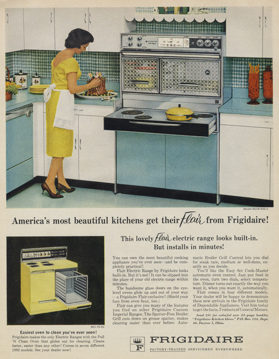 1962 Frigidaire Flair Electric Range Vintage Ad Oven Stove Advertisement Print Housewife Cooking Kitchen Photo Print Wall Art Gift for Mom