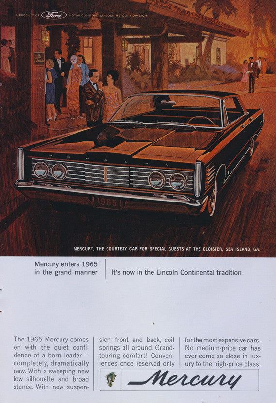 1965 Ford Mercury Classic Car Ad Illustrated Vintage Auto Advertising Art Print Wall Decor